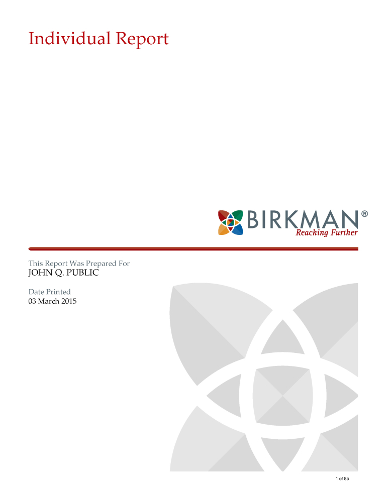 My Career IQ Full Birkman Report Cover
